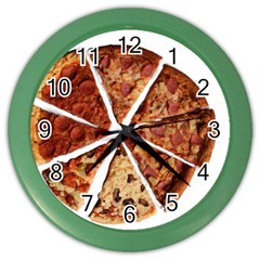 Food Fast Pizza Fast Food Color Wall Clocks