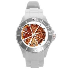 Food Fast Pizza Fast Food Round Plastic Sport Watch (l)