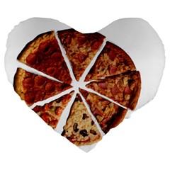Food Fast Pizza Fast Food Large 19  Premium Heart Shape Cushions