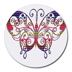 Butterfly Nature Abstract Beautiful Round Mousepads