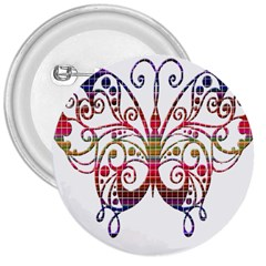 Butterfly Nature Abstract Beautiful 3  Buttons