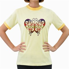 Butterfly Nature Abstract Beautiful Women s Fitted Ringer T Shirts