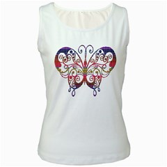 Butterfly Nature Abstract Beautiful Women s White Tank Top