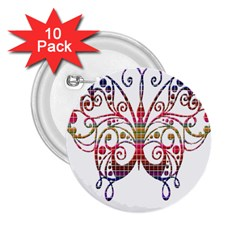 Butterfly Nature Abstract Beautiful 2 25  Buttons (10 Pack)