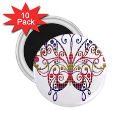 Butterfly Nature Abstract Beautiful 2 25  Magnets (10 Pack)