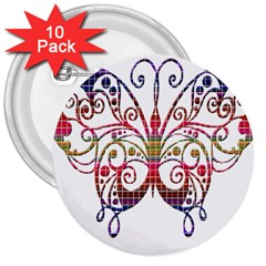 Butterfly Nature Abstract Beautiful 3  Buttons (10 Pack)