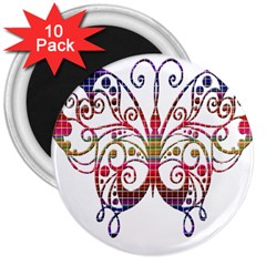 Butterfly Nature Abstract Beautiful 3  Magnets (10 pack)