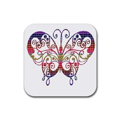 Butterfly Nature Abstract Beautiful Rubber Coaster (square)