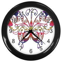 Butterfly Nature Abstract Beautiful Wall Clocks (black)