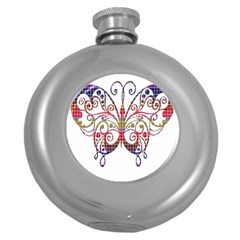 Butterfly Nature Abstract Beautiful Round Hip Flask (5 Oz)