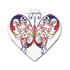 Butterfly Nature Abstract Beautiful Dog Tag Heart (Two Sides)