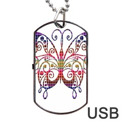 Butterfly Nature Abstract Beautiful Dog Tag Usb Flash (one Side)