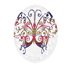Butterfly Nature Abstract Beautiful Oval Filigree Ornament (two Sides)
