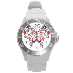 Butterfly Nature Abstract Beautiful Round Plastic Sport Watch (l)