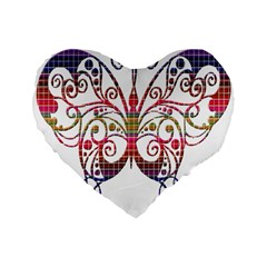 Butterfly Nature Abstract Beautiful Standard 16  Premium Heart Shape Cushions