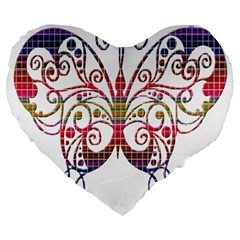 Butterfly Nature Abstract Beautiful Large 19  Premium Heart Shape Cushions