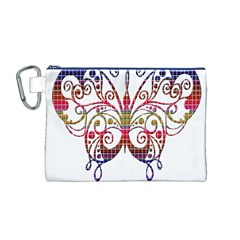 Butterfly Nature Abstract Beautiful Canvas Cosmetic Bag (M)