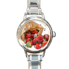 Strawberries Fruit Food Delicious Round Italian Charm Watch