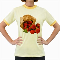 Strawberries Fruit Food Delicious Women s Fitted Ringer T-Shirts