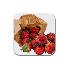Strawberries Fruit Food Delicious Rubber Square Coaster (4 pack)