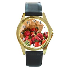 Strawberries Fruit Food Delicious Round Gold Metal Watch