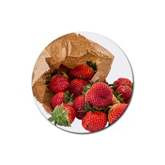 Strawberries Fruit Food Delicious Rubber Round Coaster (4 pack)