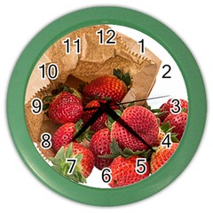 Strawberries Fruit Food Delicious Color Wall Clocks