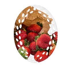Strawberries Fruit Food Delicious Oval Filigree Ornament (Two Sides)