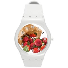 Strawberries Fruit Food Delicious Round Plastic Sport Watch (M)