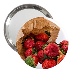 Strawberries Fruit Food Delicious 3  Handbag Mirrors
