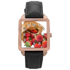 Strawberries Fruit Food Delicious Rose Gold Leather Watch