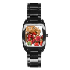 Strawberries Fruit Food Delicious Stainless Steel Barrel Watch