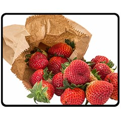 Strawberries Fruit Food Delicious Double Sided Fleece Blanket (medium)