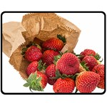 Strawberries Fruit Food Delicious Double Sided Fleece Blanket (Medium)  58.8 x47.4 Blanket Back