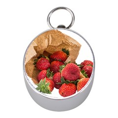 Strawberries Fruit Food Delicious Mini Silver Compasses