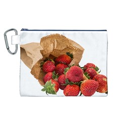 Strawberries Fruit Food Delicious Canvas Cosmetic Bag (l)