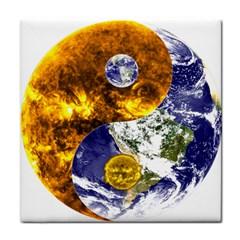 Design Yin Yang Balance Sun Earth Tile Coasters
