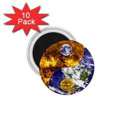 Design Yin Yang Balance Sun Earth 1 75  Magnets (10 Pack)