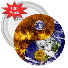 Design Yin Yang Balance Sun Earth 3  Buttons (100 pack)