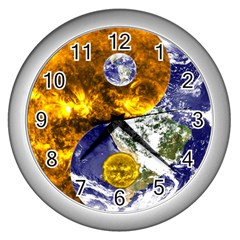 Design Yin Yang Balance Sun Earth Wall Clocks (silver)