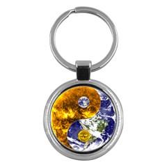 Design Yin Yang Balance Sun Earth Key Chains (round)