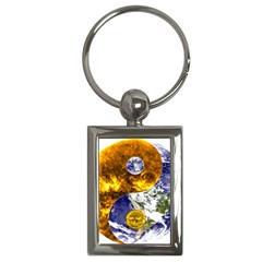Design Yin Yang Balance Sun Earth Key Chains (Rectangle)