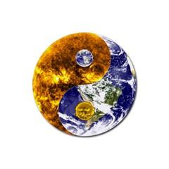 Design Yin Yang Balance Sun Earth Rubber Round Coaster (4 pack)