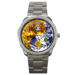 Design Yin Yang Balance Sun Earth Sport Metal Watch