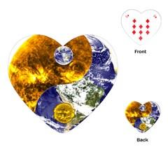 Design Yin Yang Balance Sun Earth Playing Cards (heart)