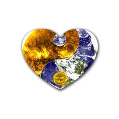 Design Yin Yang Balance Sun Earth Rubber Coaster (Heart)