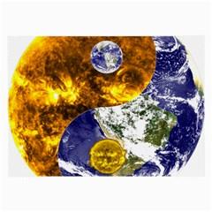 Design Yin Yang Balance Sun Earth Large Glasses Cloth (2 Side)