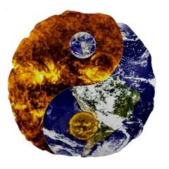 Design Yin Yang Balance Sun Earth Large 18  Premium Round Cushions
