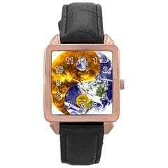 Design Yin Yang Balance Sun Earth Rose Gold Leather Watch