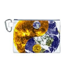Design Yin Yang Balance Sun Earth Canvas Cosmetic Bag (m)